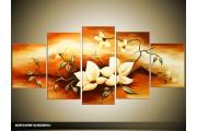 Acryl Schilderij Woonkamer | Bruin, Crème | 150x70cm 5Luik Handgeschilderd
