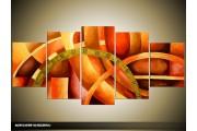 Acryl Schilderij Modern | Rood, Oranje | 150x70cm 5Luik Handgeschilderd
