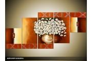 Acryl Schilderij Vaas   Bruin, Geel   150x70cm 5Luik Handgeschilderd
