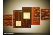 Acryl Schilderij Modern | Bruin, Crème | 150x70cm 5Luik Handgeschilderd
