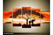 Acryl Schilderij Afrika | Oranje, Geel, Zwart | 150x70cm 5Luik Handgeschilderd