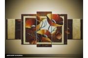 Acryl Schilderij Klaproos | Bruin, Crème | 150x70cm 5Luik Handgeschilderd