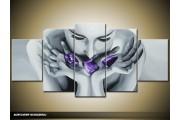 Acryl Schilderij Modern | Grijs, Paars | 150x70cm 5Luik Handgeschilderd