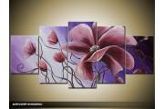 Acryl Schilderij Klaproos | Paars | 150x70cm 5Luik Handgeschilderd