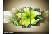 Acryl Schilderij Modern | Groen | 150x70cm 5Luik Handgeschilderd