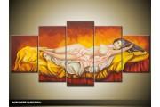 Acryl Schilderij Modern | Geel, Oranje | 150x70cm 5Luik Handgeschilderd