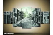 Acryl Schilderij Straat | Grijs | 150x70cm 5Luik Handgeschilderd