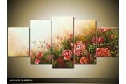 Acryl Schilderij Woonkamer | Crème, Rood | 150x70cm 5Luik Handgeschilderd