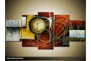 Acryl Schilderij Modern | Bruin, Grijs | 150x70cm 5Luik Handgeschilderd