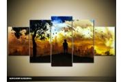 Acryl Schilderij Natuur | Zwart, Geel, Blauw | 150x70cm 5Luik Handgeschilderd
