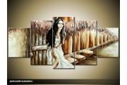 Acryl Schilderij Vrouw | Bruin, Crème | 150x70cm 5Luik Handgeschilderd