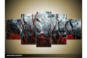Acryl Schilderij Modern | Rood, Grijs, Zwart | 150x70cm 5Luik Handgeschilderd