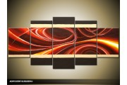 Acryl Schilderij Modern | Rood, Bruin, Crème | 150x70cm 5Luik Handgeschilderd
