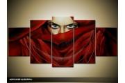 Acryl Schilderij Vrouw | Rood | 150x70cm 5Luik Handgeschilderd