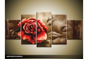 Acryl Schilderij Roos | Rood, Bruin | 150x70cm 5Luik Handgeschilderd