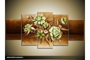 Acryl Schilderij Modern | Groen, Bruin | 150x70cm 5Luik Handgeschilderd