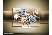 Acryl Schilderij Modern | Blauw, Grijs | 150x70cm 5Luik Handgeschilderd