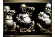 OP VOORRAAD Foto canvas schilderij Boeddha | Kleur: Zwart, Wit, Goud | F001253