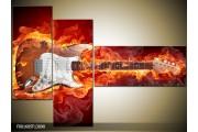 OP VOORRAAD Foto canvas schilderij Gitaar | Kleur: Bruin, Rood, Geel | F001685