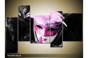 OP VOORRAAD Foto canvas schilderij Masker | Kleur: Zwart, Grijs, Paars | F002099