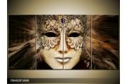 OP VOORRAAD Foto canvas schilderij Masker | Kleur: Bruin, Wit, Zwart | F004929