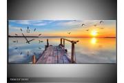 OP VOORRAAD Wandklok op Canvas Zonsondergang | 100X40cm | F006019 C