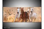 OP VOORRAAD Wandklok op Canvas Paard | 100X40cm | F006037 C