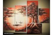 Acryl Schilderij Natuur | Bruin, Crème, Rood | 120x90cm 5Luik Handgeschilderd