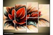 Acryl Schilderij Magnolia | Rood, Crème, Groen | 120x80cm 5Luik Handgeschilderd