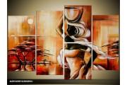 Acryl Schilderij Modern | Bruin, Crème, Rood | 120x80cm 5Luik Handgeschilderd