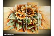 Acryl Schilderij Zonnebloem | Geel, Groen | 120x80cm 5Luik Handgeschilderd