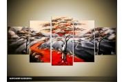 Acryl Schilderij Natuur | Rood, Grijs, Zwart | 150x70cm 5Luik Handgeschilderd