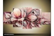 Acryl Schilderij Magnolia | Paars, Grijs | 150x70cm 5Luik Handgeschilderd