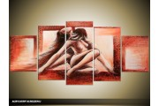 Acryl Schilderij Slaapkamer | Rood, Bruin | 150x70cm 5Luik Handgeschilderd