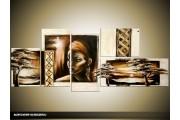 Acryl Schilderij Afrika | Crème, Bruin | 150x70cm 5Luik Handgeschilderd