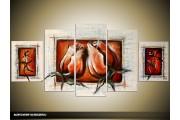 Acryl Schilderij Roos | Rood, Crème | 150x70cm 5Luik Handgeschilderd