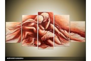 Acryl Schilderij Slaapkamer | Bruin | 150x70cm 5Luik Handgeschilderd