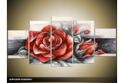 Acryl Schilderij Roos | Rood, Grijs | 150x70cm 5Luik Handgeschilderd