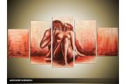 Acryl Schilderij Slaapkamer | Rood | 150x70cm 5Luik Handgeschilderd