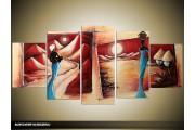Acryl Schilderij Afrika | Crème, Blauw, Rood | 150x70cm 5Luik Handgeschilderd