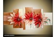 Acryl Schilderij Modern | Rood, Crème, Bruin | 150x70cm 5Luik Handgeschilderd