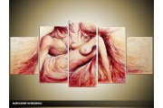 Acryl Schilderij Slaapkamer | Crème, Rood | 150x70cm 5Luik Handgeschilderd