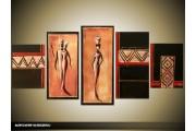 Acryl Schilderij Afrika | Bruin, Zwart | 150x70cm 5Luik Handgeschilderd
