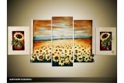 Acryl Schilderij Zonnebloem | Geel, Crème | 150x70cm 5Luik Handgeschilderd