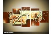 Acryl Schilderij Modern | Geel, Bruin, Groen | 150x70cm 5Luik Handgeschilderd