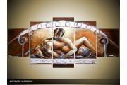 Acryl Schilderij Slaapkamer | Bruin, Grijs, Crème | 150x70cm 5Luik Handgeschilderd