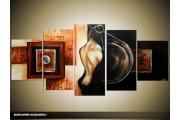 Acryl Schilderij Modern | Zwart, Bruin, Crème | 150x70cm 5Luik Handgeschilderd