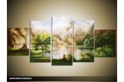 Acryl Schilderij Natuur | Groen, Crème | 150x70cm 5Luik Handgeschilderd