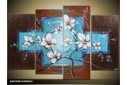Acryl Schilderij Modern | Blauw, Bruin | 120x80cm 5Luik Handgeschilderd