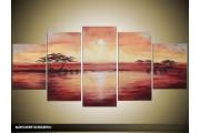 Acryl Schilderij Zonsondergang | Crème, Rood | 150x70cm 5Luik Handgeschilderd